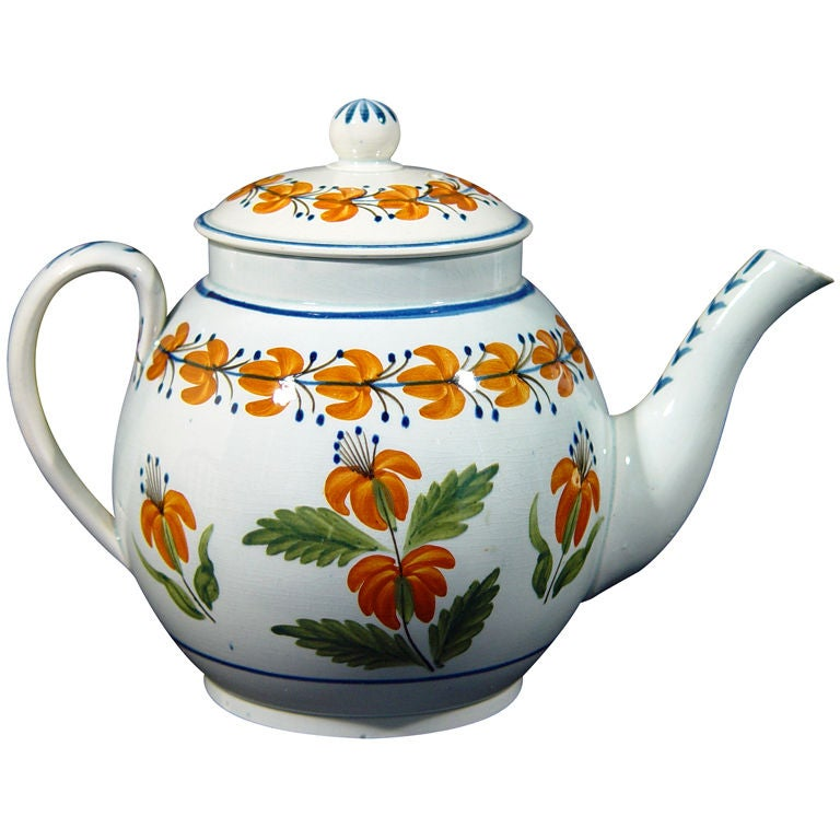 English Pottery Pearlware Teapot Decorated With Unusual