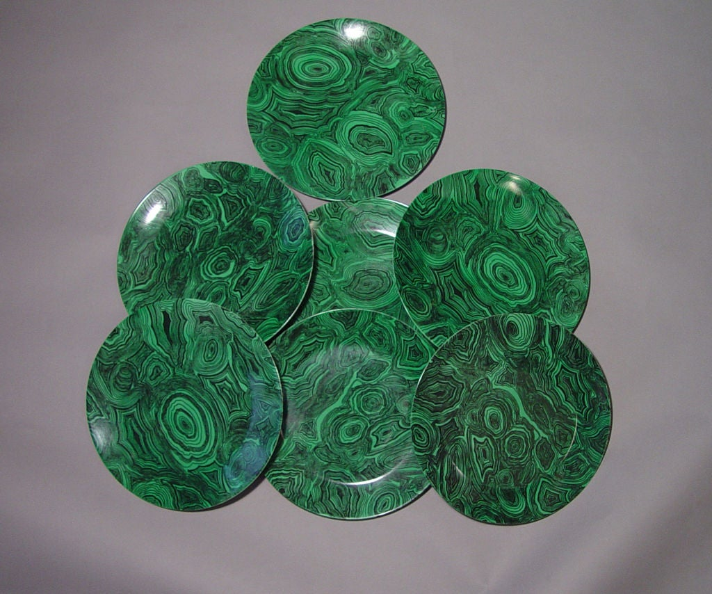 A Set of Twelve Vintage Piero Fornasetti Malachite Large Plates 2