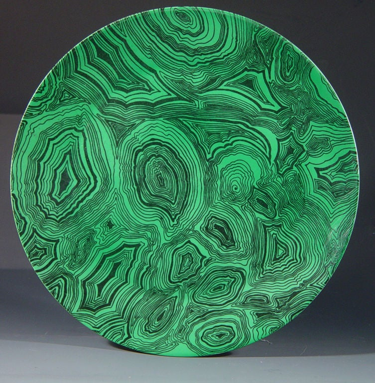 A Set of Twelve Vintage Piero Fornasetti Malachite Large Plates 3
