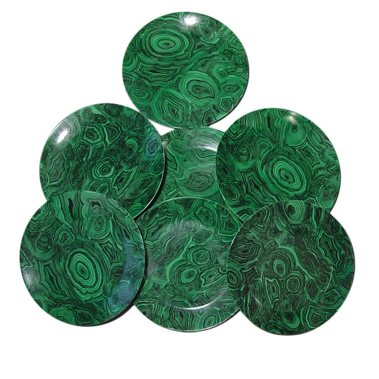 A Set of Twelve Vintage Piero Fornasetti Malachite Large Plates 1