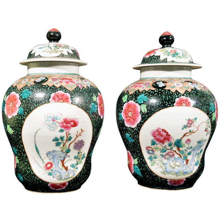 Chinese Export Famille Rose Porcelain Baluster Vases and Covers For Sale