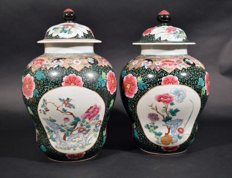 Chinese Export Famille Rose Porcelain Baluster Vases and Covers For Sale 3