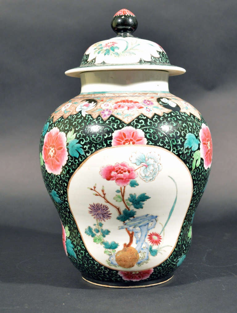 Chinese Export Famille Rose Porcelain Baluster Vases and Covers For Sale 1