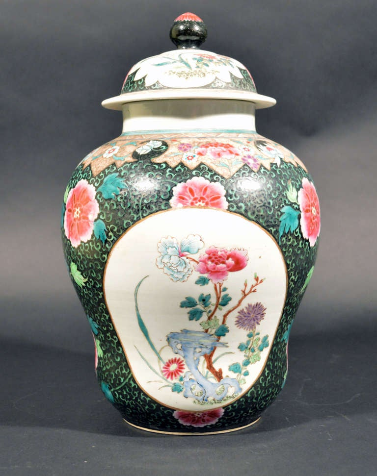 19th Century Chinese Export Famille Rose Porcelain Baluster Vases and Covers For Sale