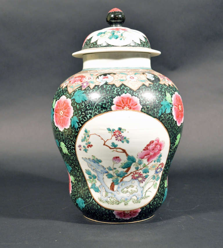 Hand-Painted Chinese Export Famille Rose Porcelain Baluster Vases and Covers For Sale
