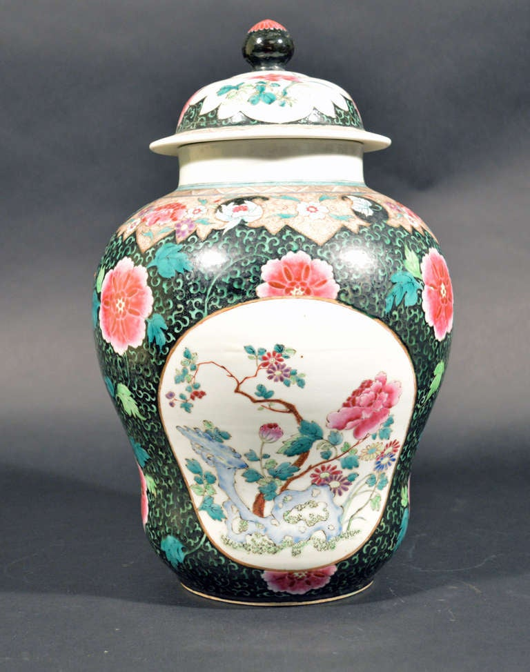 Chinese Export Famille Rose Porcelain Baluster Vases and Covers In Excellent Condition For Sale In Maryknoll, NY