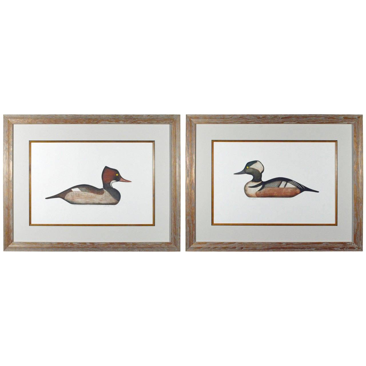 Arthur Nevis Pair of Prints of Hooded Merganser Drake and Hen Duck Decoys
