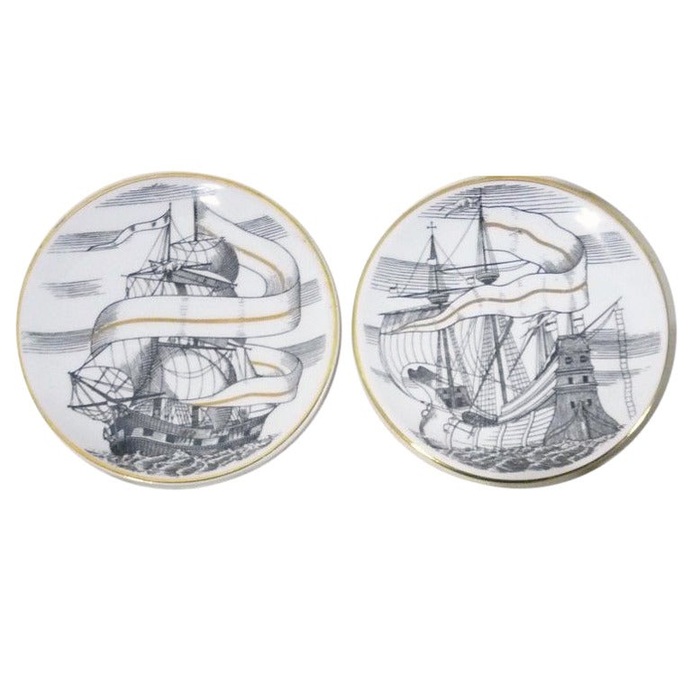 Set of Piero Fornasetti Velieri Tallship Porcelain Coasters with Original Box