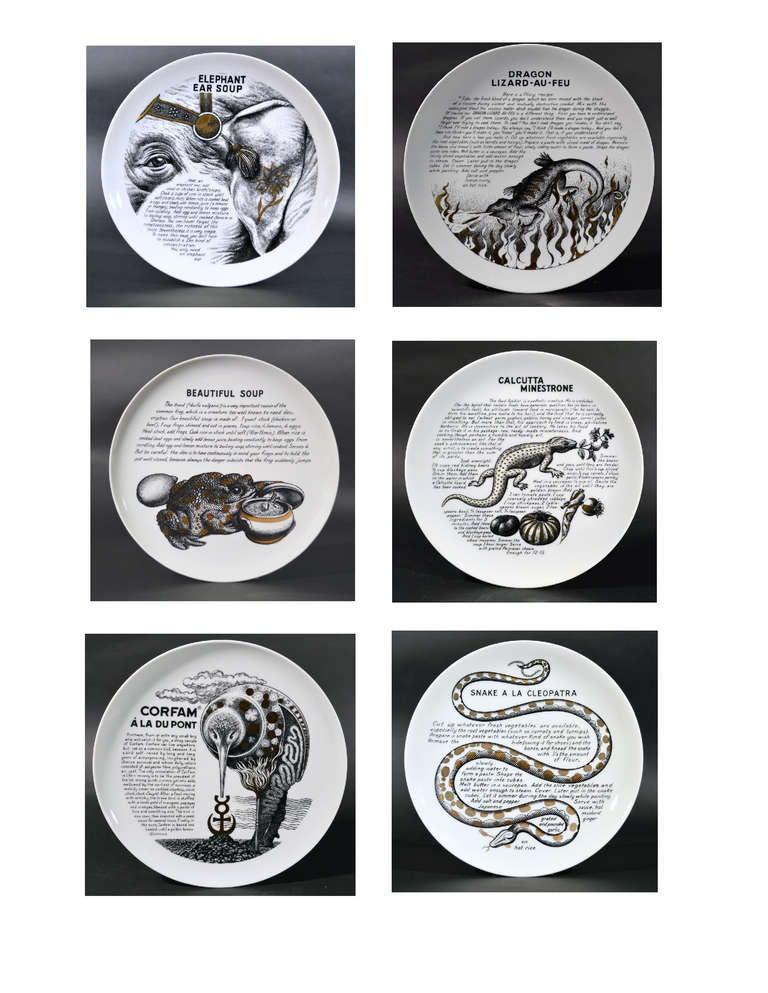 A Set of Six Piero Fornasetti Whimsical Recipe Plates 2