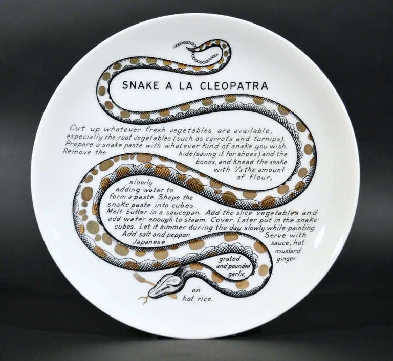 A Set of Six Piero Fornasetti Whimsical Recipe Plates 3