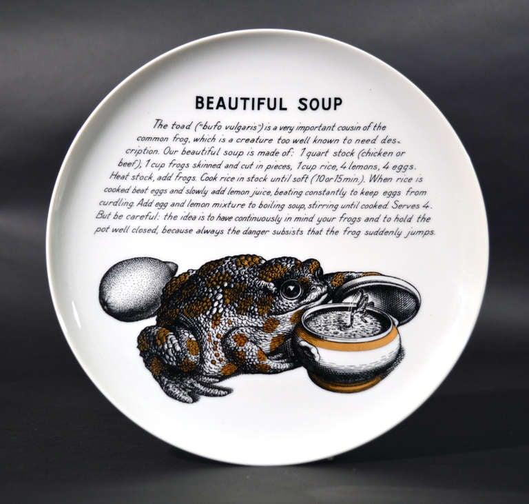 A Set of Six Piero Fornasetti Whimsical Recipe Plates 7