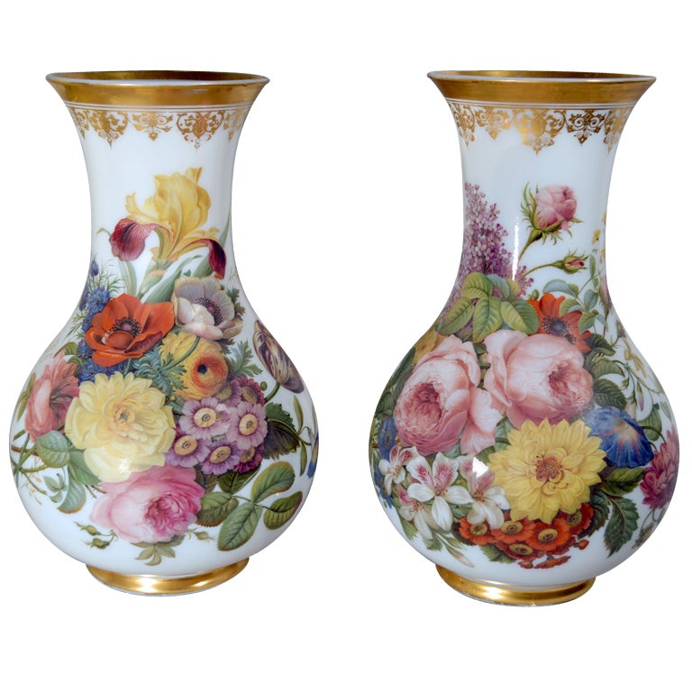 French Baccarat Opaline Crystal Vases by Jean-Francois Robert.