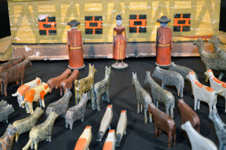 German Noah's Ark with Ninety One Animals and Noah and his Wife. In Good Condition For Sale In Downingtown, PA