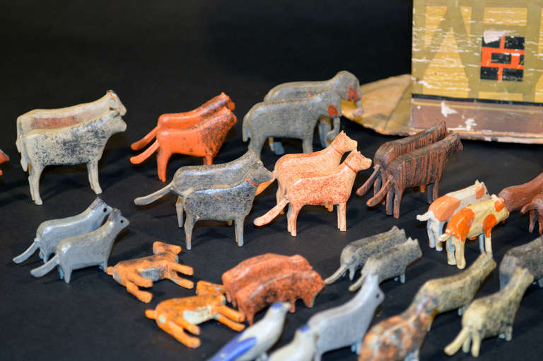 German Noah's Ark with Ninety One Animals and Noah and his Wife. For Sale 4