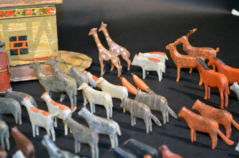 19th Century German Noah's Ark with Ninety One Animals and Noah and his Wife. For Sale