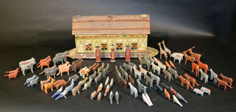 Wood German Noah's Ark with Ninety One Animals and Noah and his Wife. For Sale