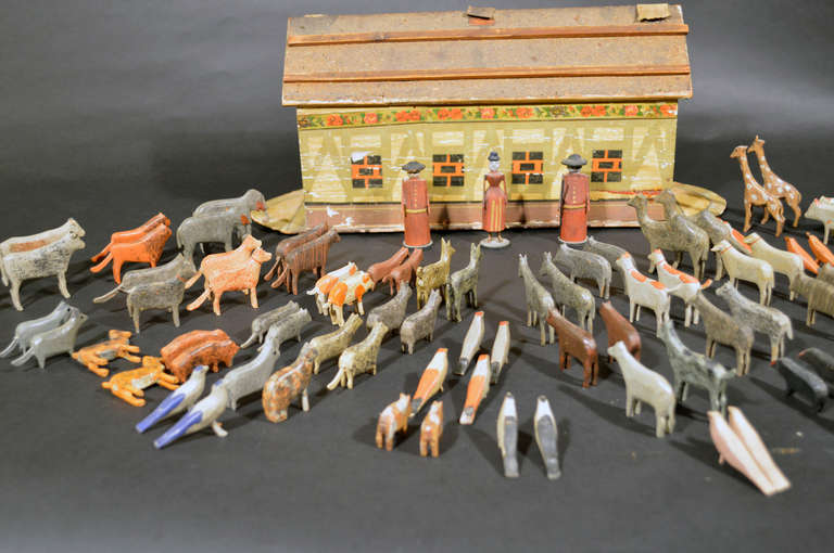 German Noah's Ark with Ninety One Animals and Noah and his Wife. For Sale 3