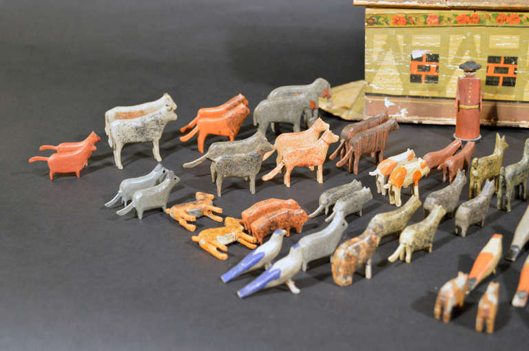 Folk Art German Noah's Ark with Ninety One Animals and Noah and his Wife. For Sale