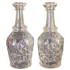 Pair of Pittsburgh Glass Bar Bottles or Decanters, Bakewell, Pears & Co.