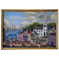 Massive Ralph Cahoon Painting of a New England Seaside Village Dock
