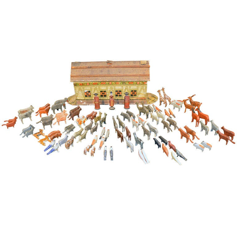 German Noah's Ark with Ninety One Animals and Noah and his Wife. For Sale