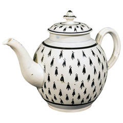 Pearlware Pottery Large Teapot with Ermine Decoration
