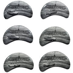 Piero Fornasetti Demilune Porcelain Dishes with cars and Turin, Made for Fiat