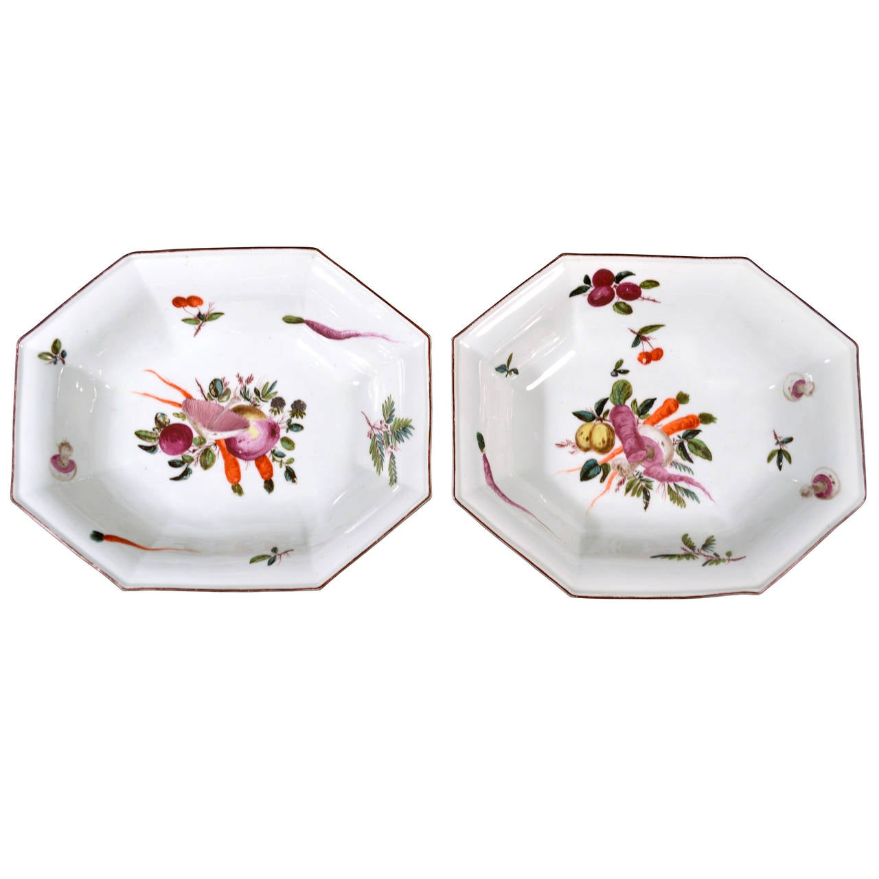 Chelsea Porcelain Dishes with Unusual Vegetable Decoration.