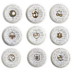 Set of Nine Piero Fornasetti Zodiac Plates