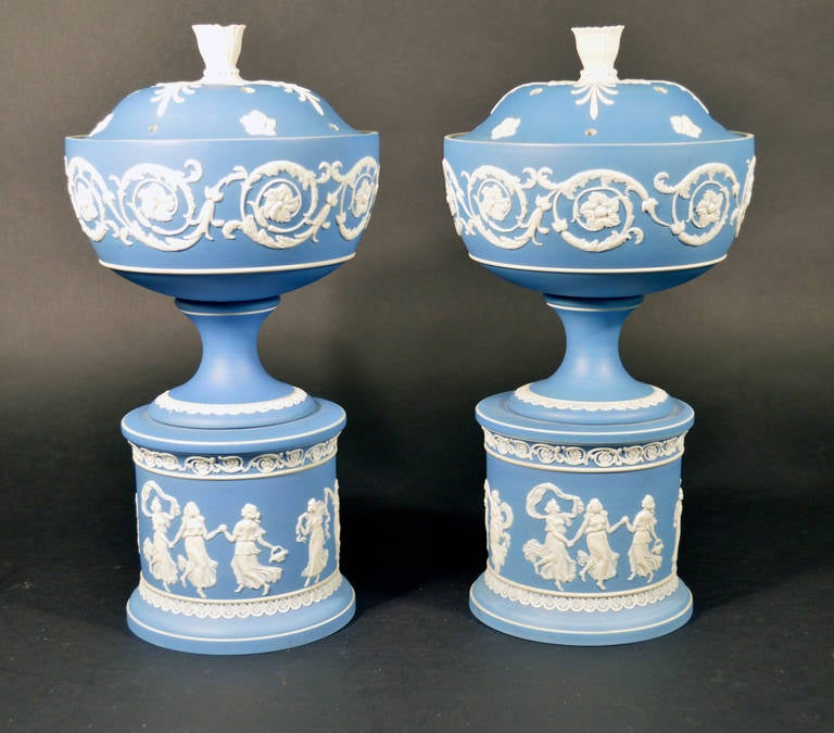 the letter black pair of white jasper with blue jasper dip urns 1657