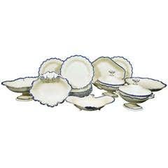 English Pottery Creamware Blue Enamel Shell-Edge Dessert Service