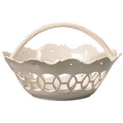 A Staffordshire Salt-glazed Openwork Basket