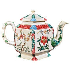 Rare Staffordshire Enamelled Salt-Glazed Diamond-Shaped Teapot & Cover