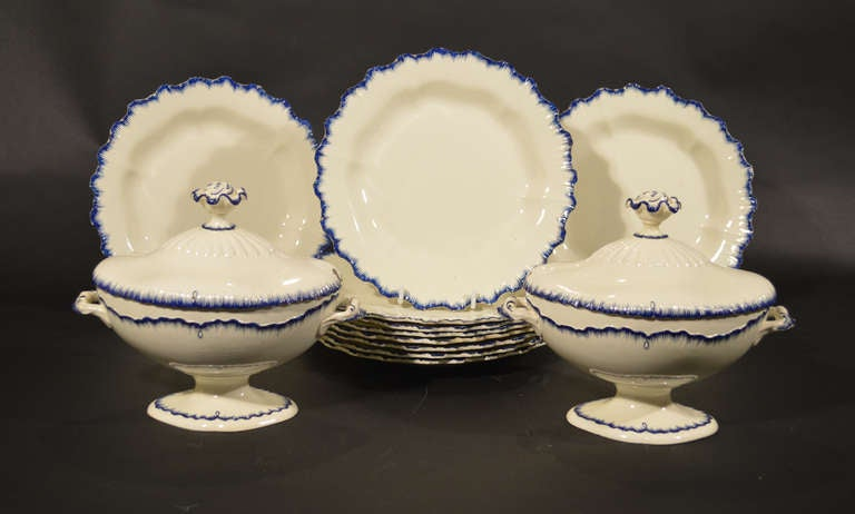 18th Century and Earlier English Pottery Creamware Blue Enamel Shell-Edge Dessert Service For Sale