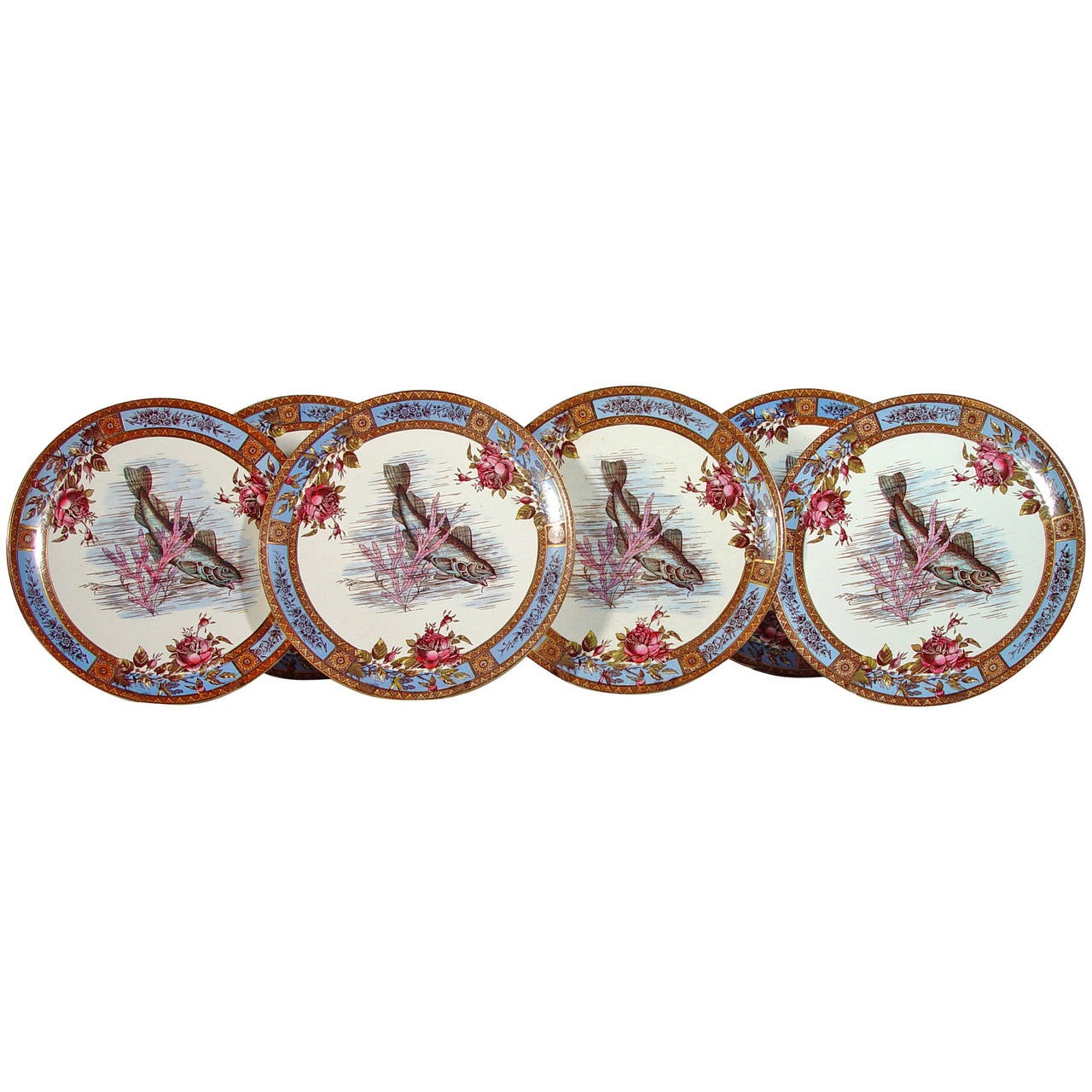 Fish Set of Six Garfield Pottery Earthenware Plates, Wood & Hulme.