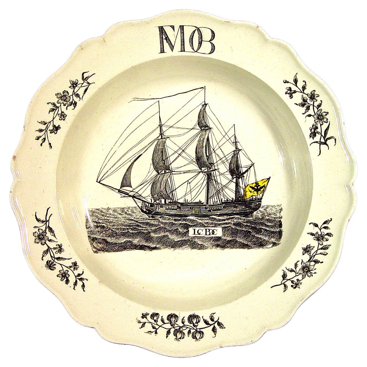 Wedgwood Creamware Soup Plate with German Ship Decoration.