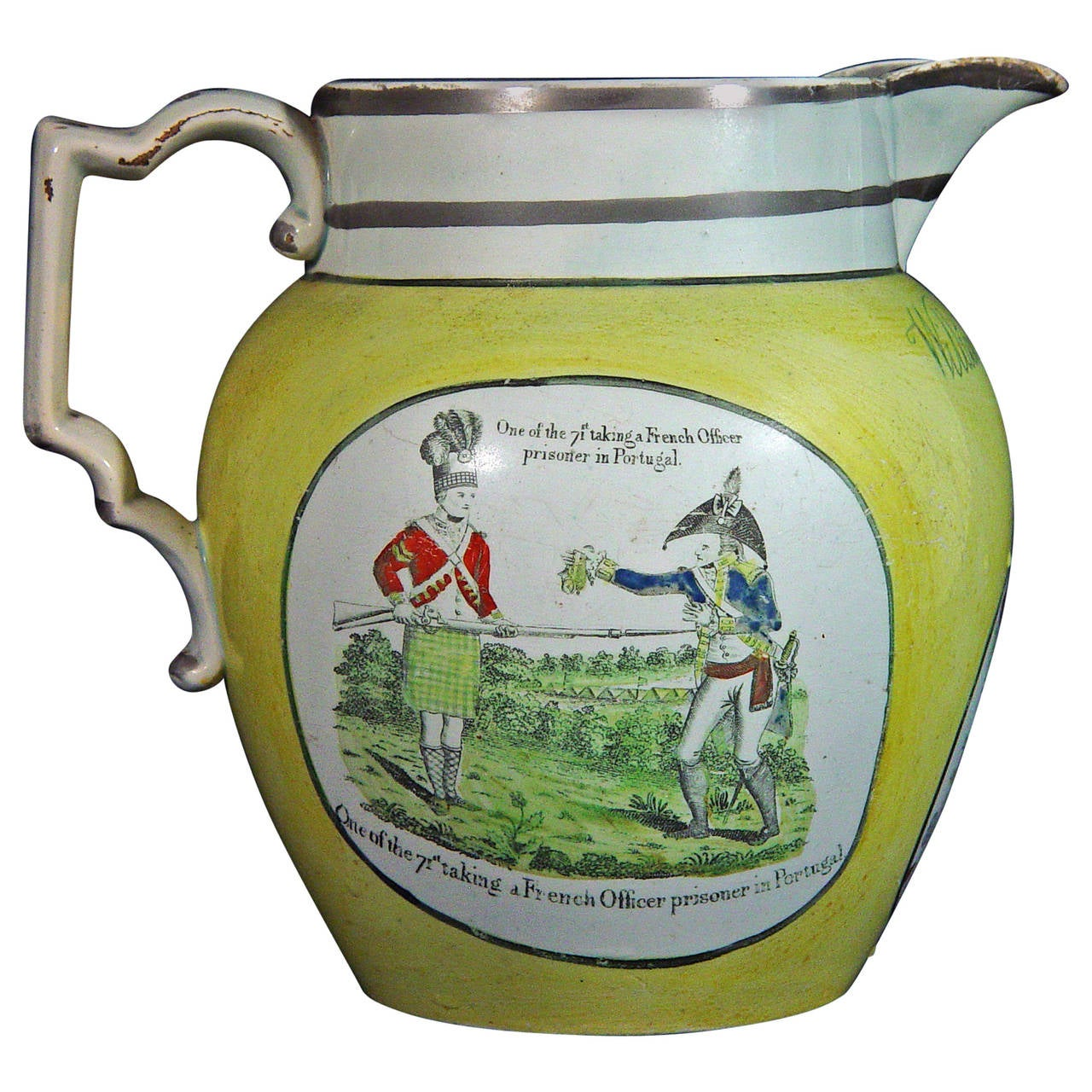 English Documentary Pearlware Yellow-Ware Napoleonic Jug, Dated 1813.