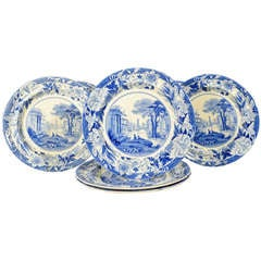 Wedgwood Pearlware Pottery Service in the Harbour Shipping Pattern.