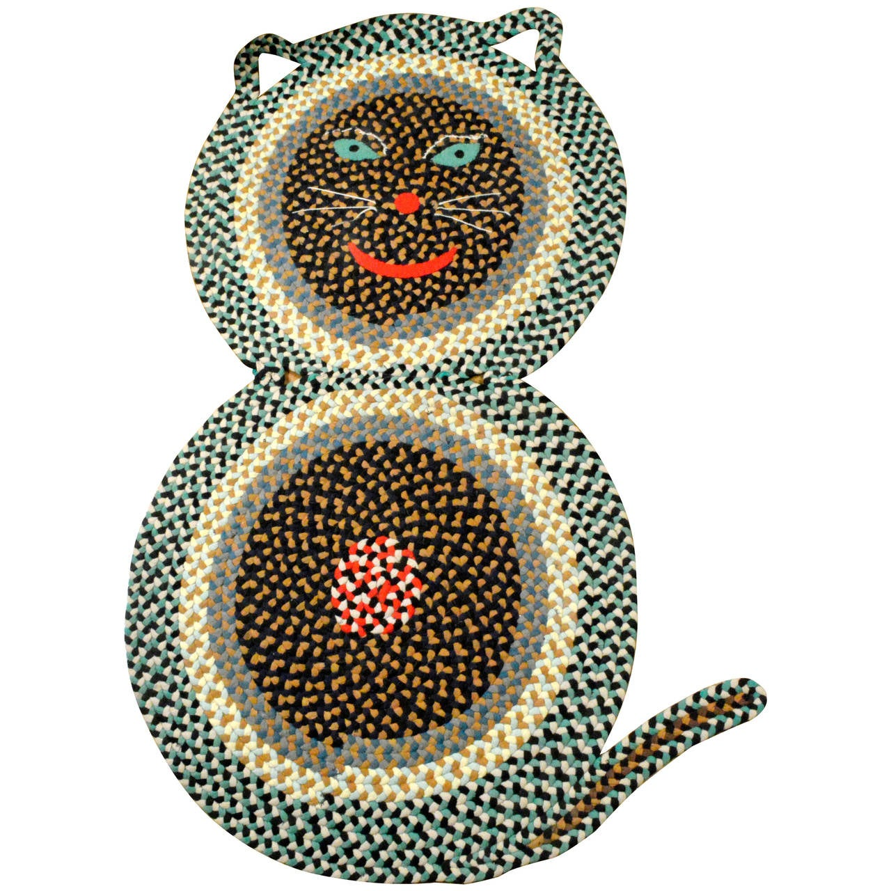 American Folk Art Braided Rug In The Form Of A Cat Of