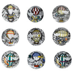 Piero Fornasetti Porcelain Plates with the Mongolfiere (Hot Air) Design