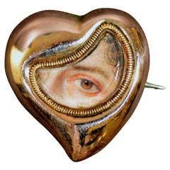 A Fine Heart-shaped Lover's Eye Portrait Miniature