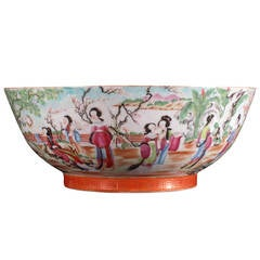 Chinese Export Rose Canton Porcelain Punch Bowl, Dated 1821.