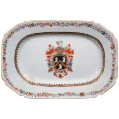 Chinese Export Porcelain Armorial Dish with the Coat of Arms of Skinner