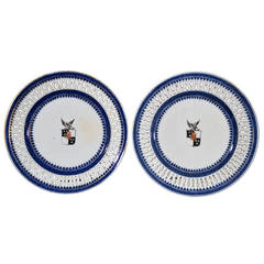 Pair of Chinese Export Armorial Small Plates Arms of Newman