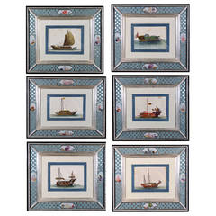Set of Six China Trade Watercolors of Junks and Sampans