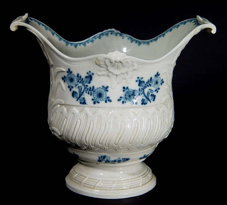 Rococo Revival French Rococo Blue and White Porcelain Wine Cooler For Sale
