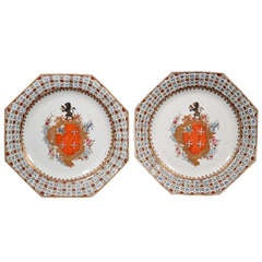 A Pair of Chinese Export Porcelain Armorial Plates, The Coat of Arms of Chase