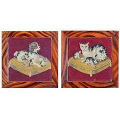 A Pair of English Needlework Pictures of Cat & Dog
