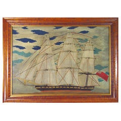 Victorian Sailor's Woolwork Woolie Large Picture of a Ship.