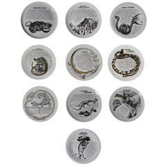 A Set of Ten Piero Fornasetti Fleming Joffe Plates